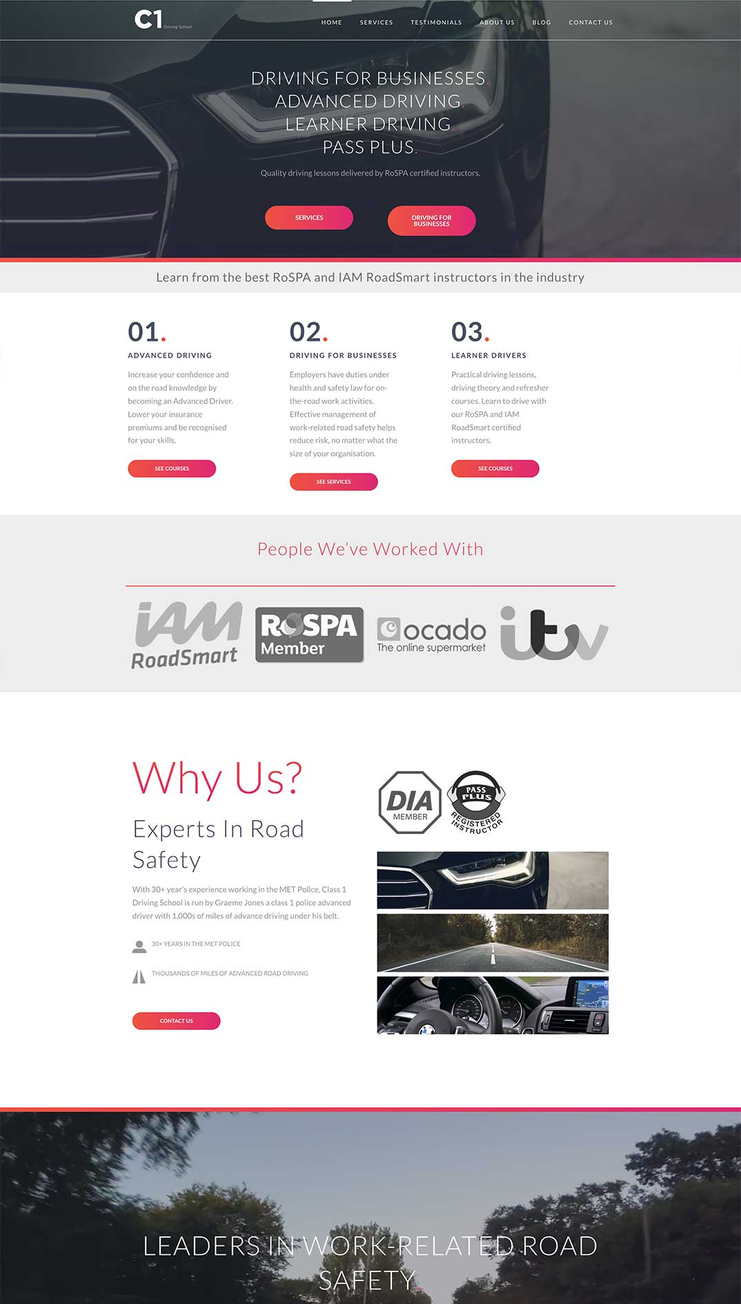 Class 1 Driving School Website Mockup 02